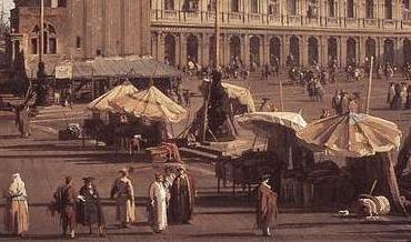 Фрагмент картины Каналетто, на котором видны деревянные лавки в Венеции